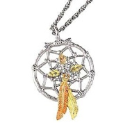 Beautifully designed! Black Hills Gold Sterling Silver Dream Catcher Pendant/Necklace