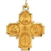 Elegant and . 30.00X29.00 MM 4-Way Cross Medal in 14K Yellow Gold, 100% Satisfaction Guaranteed.
