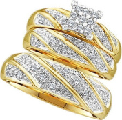 Real Diamond Wedding Engagement Ring 0.30CTW DIAMOND CLUSTER TRIO SET 10K Yellow-gold
