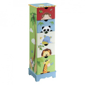 Fantasy Fields - Sunny Safari Animals Thematic 5 Drawer Wooden Cabinet for Kids Storage | Imagination Inspiring Hand Crafted & Painted Details Non-Toxic, Lead Free Water-based Paint