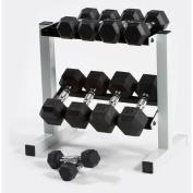 Cap Barbell 70lb Rubber Hex Dumbbell Set, 5-11kg with Rack