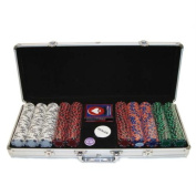 Trademark Poker 500 14 Gramme 3 Colour Ace/King Suited Clay Poker Chip Set with Aluminium Case