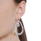 Brinley Co. CZ Silvertone Teardrop Drop Earrings