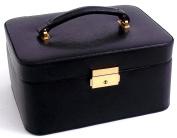 """Bey-Berk International Jewellery/Watch Case, Black """"Lizard"""" Leather, T.P."""