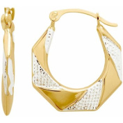 10kt Yellow Gold with Rhodium Octagon Hoop Earrings