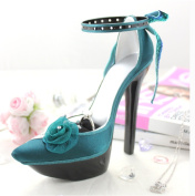 Elegant Rose Platform Shoe Ring and Earring Holder - Green - 7W x 4H in.