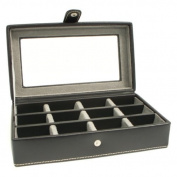 12-Pocket Leather Cufflink Case - Black Leather - 8W x 2.75H in.