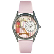 Whimsical Watches Women''s Beautician Female Pink Leather and Silvertone Watch in Silver
