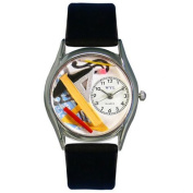 Whimsical Watches Women''s Architect Black Leather and Silvertone Watch in Silver