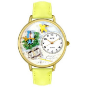 Whimsical Watches Unisex Bird Watching Yellow Leather and Goldtone Watch in Gold