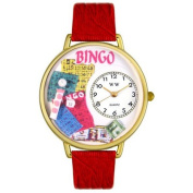 Whimsical Watches Unisex Bingo Red Leather and Goldtone Watch in Gold