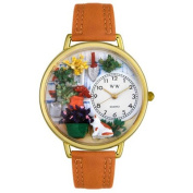 Whimsical Watches Unisex Gardening Tan Leather and Goldtone Watch in Gold