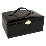 Black Leather Multi-level Travel Jewellery Box - 11W x 5.25H in.