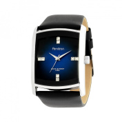 Armitron Men's Stainless-Steel Dress Watch, Black Leather Strap