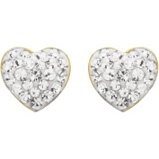 Luminesse 18kt Gold over Sterling Silver White Heart Earrings made with .  Elements