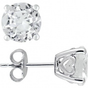4-4/5 Carat T.G.W. Round-Cut White Sapphire Sterling Silver Earrings