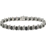 14-7/8 Carat T.G.W. Black Sapphire and Diamond Accent Sterling Silver Bracelet, 17.8cm