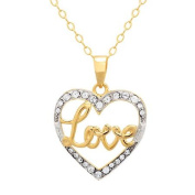 """Luminesse 18kt Gold over Sterling Silver """"Love"""" Heart Pendant made with .  Elements, 46cm"""