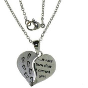 Connexions from Hallmark Stainless-Steel Inscribed Baby Footsteps Heart Pendant, 18-50.8cm