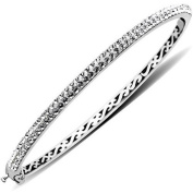 Luminesse Sterling Silver White Bangle Bracelet made with .  Elements, 19cm