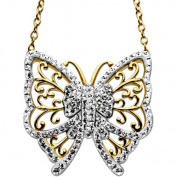 Luminesse 18kt Gold over Sterling Silver Butterfly Necklace made with .  Elements, 46cm
