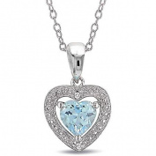 1 Carat T.G.W. Blue Topaz and Diamond Accent Sky Heart Pendant in Sterling Silver, 45.7cm