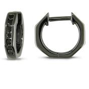 1/4 Carat T.W. Black Diamond Sterling Silver Hoop Earrings