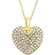 Luminesse 18kt Gold over Sterling Silver Heart Pendant made with .  Elements, 46cm