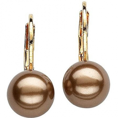 8mm Chocolate Cultured Shell Pearl 14kt Gold-Plated Drop Earrings