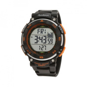 Armitron Men's Black Dial And Orange Accents Chronograph Watch, Black Resin Strap