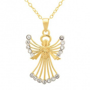 Luminesse 18kt Gold over Sterling Silver Angel Pendant made with .  Elements, 46cm