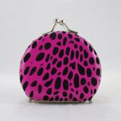 Round Leopard Print Jewellery Travel Case - Hot Pink - 2.6L x 2.2W in.
