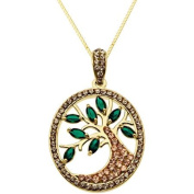 Luminesse 18kt Gold over Sterling Silver, Tree of Life Pendant made with .  Elements, 46cm