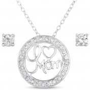 "CZ Sterling Silver Stud Earrings and ""I Love Mom"" Pendant, 45.7cm"