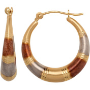 Simply Gold 10kt Yellow Gold with White and Pink Rhodium Satin and Diamond-Cut Hoop Earrings