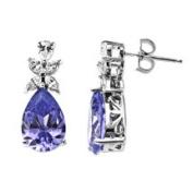Pear-Cut Purple CZ and Clear CZ Sterling Silver Drop Earrings