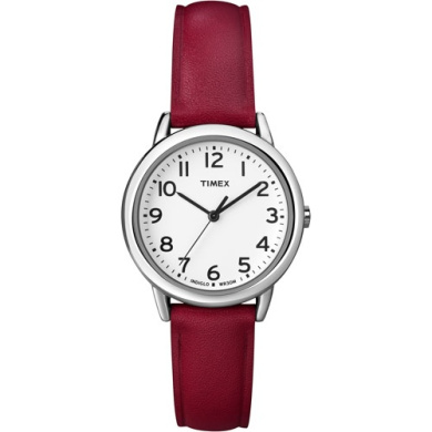 Timex Women's Easy Reader Watch, Red Leather Strap