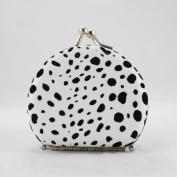 Round Leopard Print Jewellery Travel Case - White - 2.6L x 2.2W in.