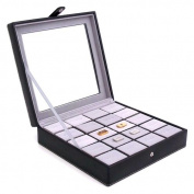 20-Pocket Leather Cufflink Case - Black Leather - 8.75W x 2.25H in.
