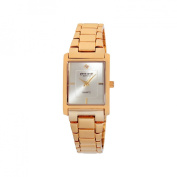 Pierre Cardin Women's Gold-Tone Rectangular Diamond Accent Dial Watch