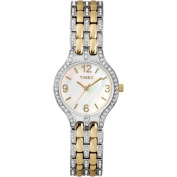 Timex Women's Crystal Accent Mother-of-Pearl Dial Watch, Two-Tone Stainless Steel Bracelet