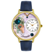 Whimsical Watches Unisex December Navy Blue Leather and Goldtone Watch in Gold