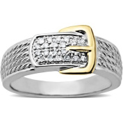 Diamond Accent Buckle Ring in 10kt Yellow Gold over Sterling Silver, Size 7