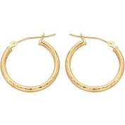 10kt Yellow Gold Diamond-Cut Hoop Earrings