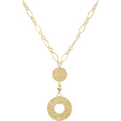 Simply Gold 10kt Yellow Gold Hammered Disc Necklace, 45.7cm