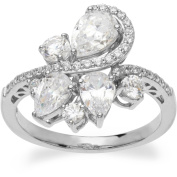 White CZ Sterling Silver Cluster Ring, Size 7