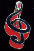 Harmony Jewellery G Clef Pin in Gold and Red