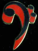 Harmony Jewellery Bass Clef Pin in Gold and Red
