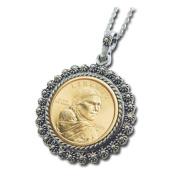 American Coin Treasures Sacagawea Dollar Silvertone Bezel Pendant