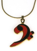 Harmony Jewellery Bass Clef Necklace in Gold and Red